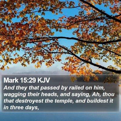 Mark 15:29 KJV Bible Verse Image