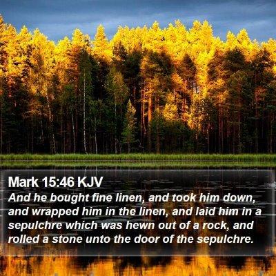 Mark 15:46 KJV Bible Verse Image
