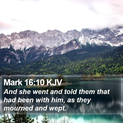 Mark 16:10 KJV Bible Verse Image