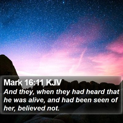 Mark 16:11 KJV Bible Verse Image