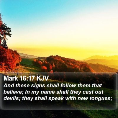 Mark 16:17 KJV Bible Verse Image