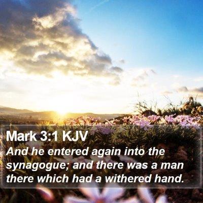 Mark 3:1 KJV Bible Verse Image