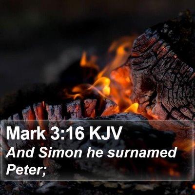 Mark 3:16 KJV Bible Verse Image