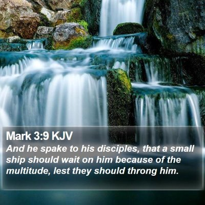 Mark 3:9 KJV Bible Verse Image