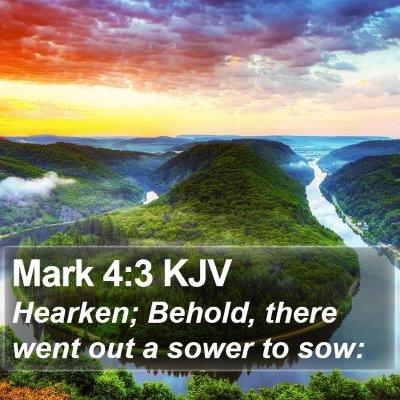 Mark 4:3 KJV Bible Verse Image