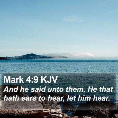 Mark 4:9 KJV Bible Verse Image