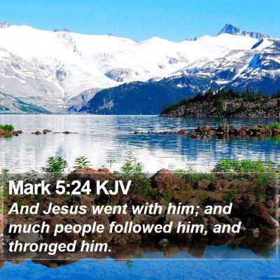 Mark 5:24 KJV Bible Verse Image