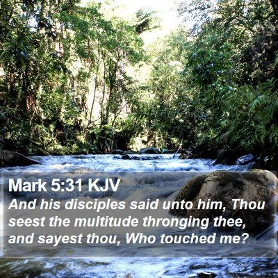 Mark 5:31 KJV Bible Verse Image