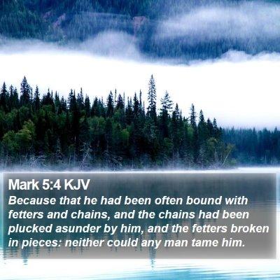 Mark 5:4 KJV Bible Verse Image