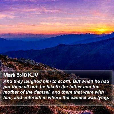 Mark 5:40 KJV Bible Verse Image