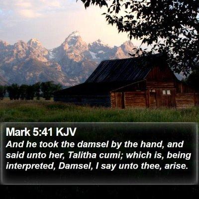 Mark 5:41 KJV Bible Verse Image