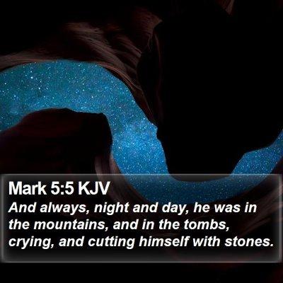 Mark 5:5 KJV Bible Verse Image