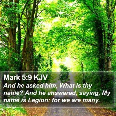 Mark 5:9 KJV Bible Verse Image