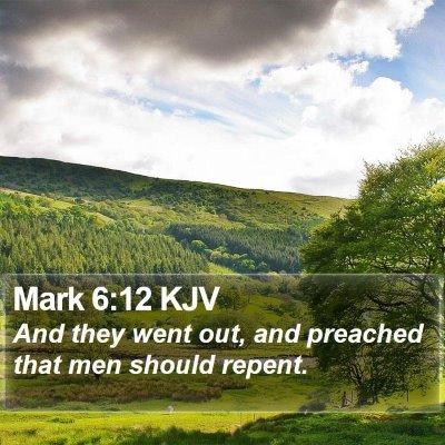Mark 6:12 KJV Bible Verse Image