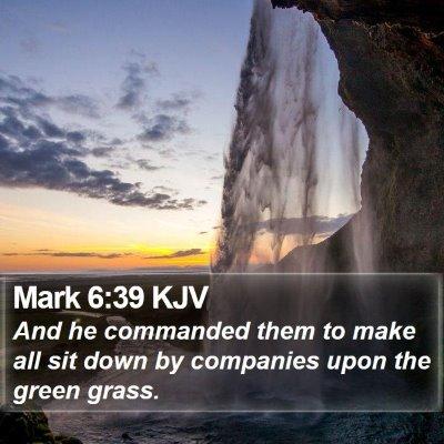 Mark 6:39 KJV Bible Verse Image