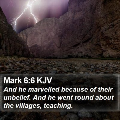 Mark 6:6 KJV Bible Verse Image