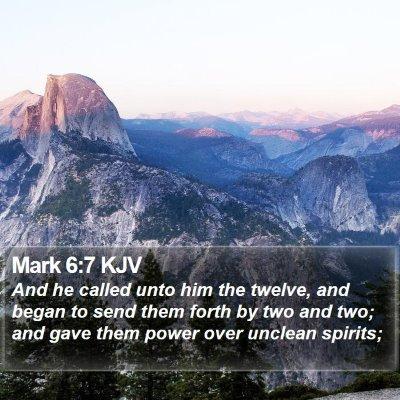 Mark 6:7 KJV Bible Verse Image