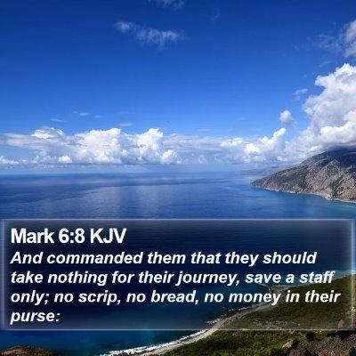 Mark 6:8 KJV Bible Verse Image