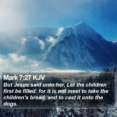 Mark 7:27 KJV Bible Verse Image