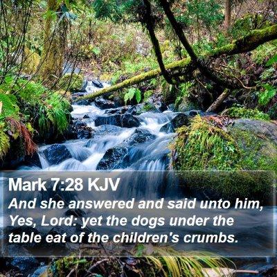 Mark 7:28 KJV Bible Verse Image