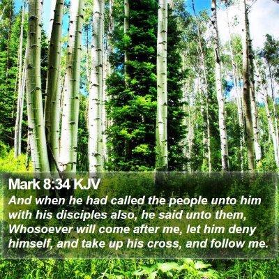 Mark 8:34 KJV Bible Verse Image