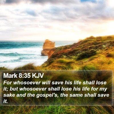 Mark 8:35 KJV Bible Verse Image