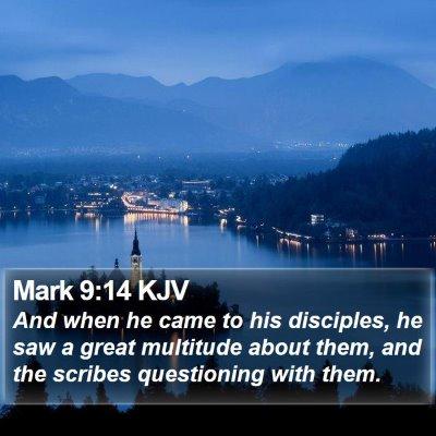 Mark 9:14 KJV Bible Verse Image