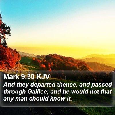 Mark 9:30 KJV Bible Verse Image