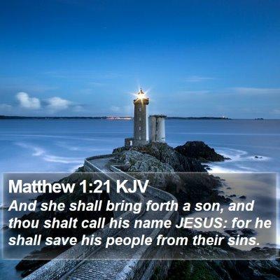 Matthew 1:21 KJV Bible Verse Image