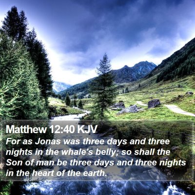 Matthew 12:40 KJV Bible Verse Image