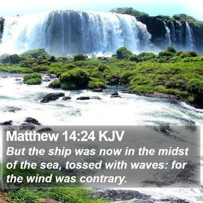 Matthew 14:24 KJV Bible Verse Image
