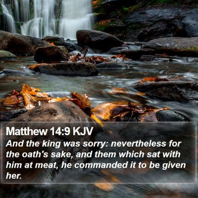 Matthew 14:9 KJV Bible Verse Image