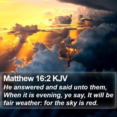 Matthew 16:2 KJV Bible Verse Image