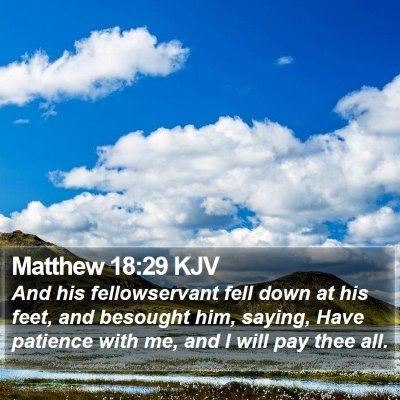 Matthew 18:29 KJV Bible Verse Image