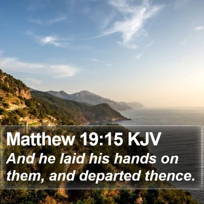 Matthew 19:15 KJV Bible Verse Image