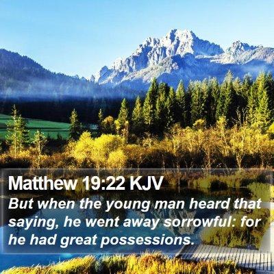Matthew 19:22 KJV Bible Verse Image
