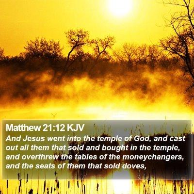 Matthew 21:12 KJV Bible Verse Image