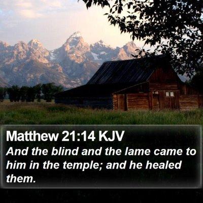 Matthew 21:14 KJV Bible Verse Image