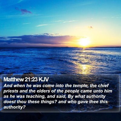 Matthew 21:23 KJV Bible Verse Image