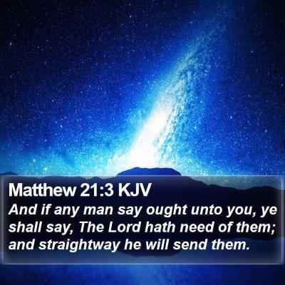 Matthew 21:3 KJV Bible Verse Image