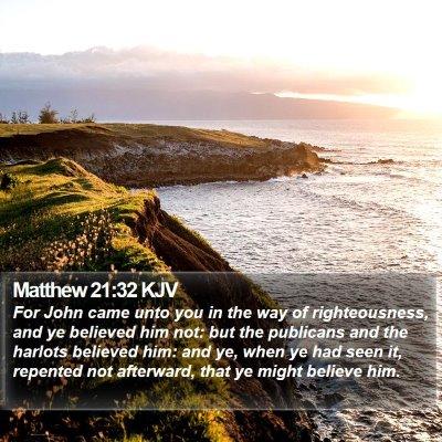Matthew 21:32 KJV Bible Verse Image