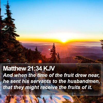 Matthew 21:34 KJV Bible Verse Image
