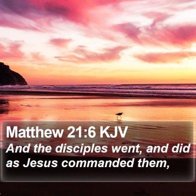 Matthew 21:6 KJV Bible Verse Image