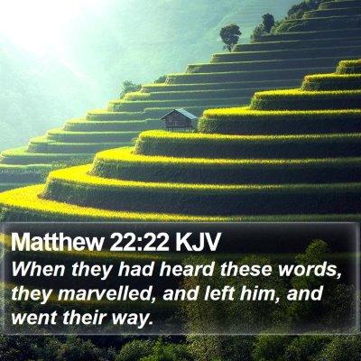 Matthew 22:22 KJV Bible Verse Image