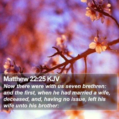 Matthew 22:25 KJV Bible Verse Image