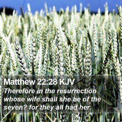 Matthew 22:28 KJV Bible Verse Image