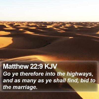 Matthew 22:9 KJV Bible Verse Image