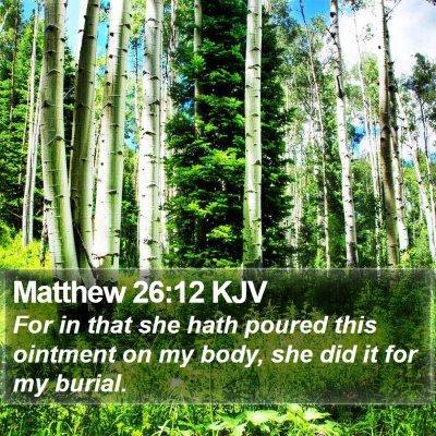 Matthew 26:12 KJV Bible Verse Image