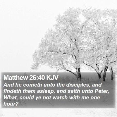 Matthew 26:40 KJV Bible Verse Image