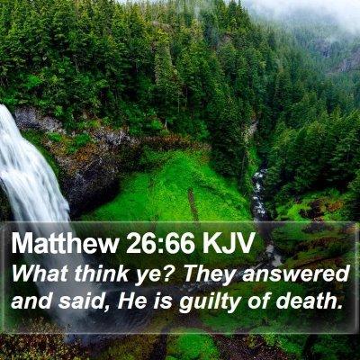 Matthew 26:66 KJV Bible Verse Image